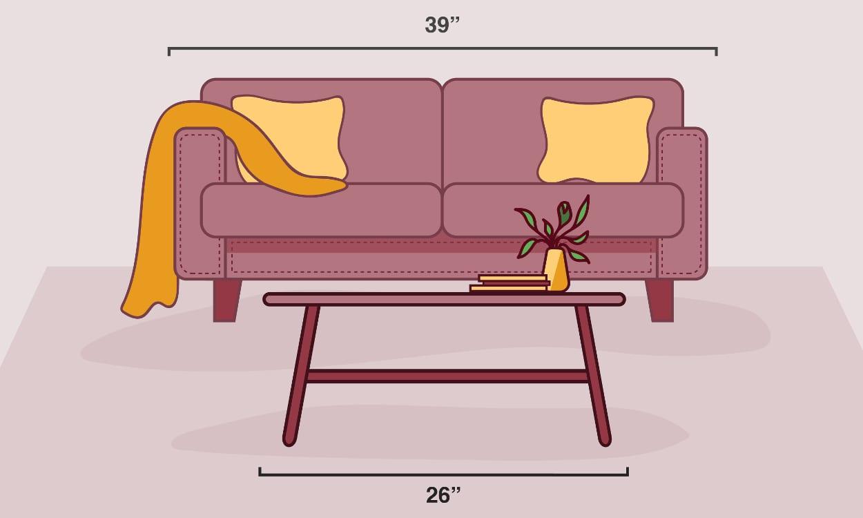 طراحی اصولی اتاق نشیمن که اندازه میز جلو مبلی آن متناسب با اندازه مبل است