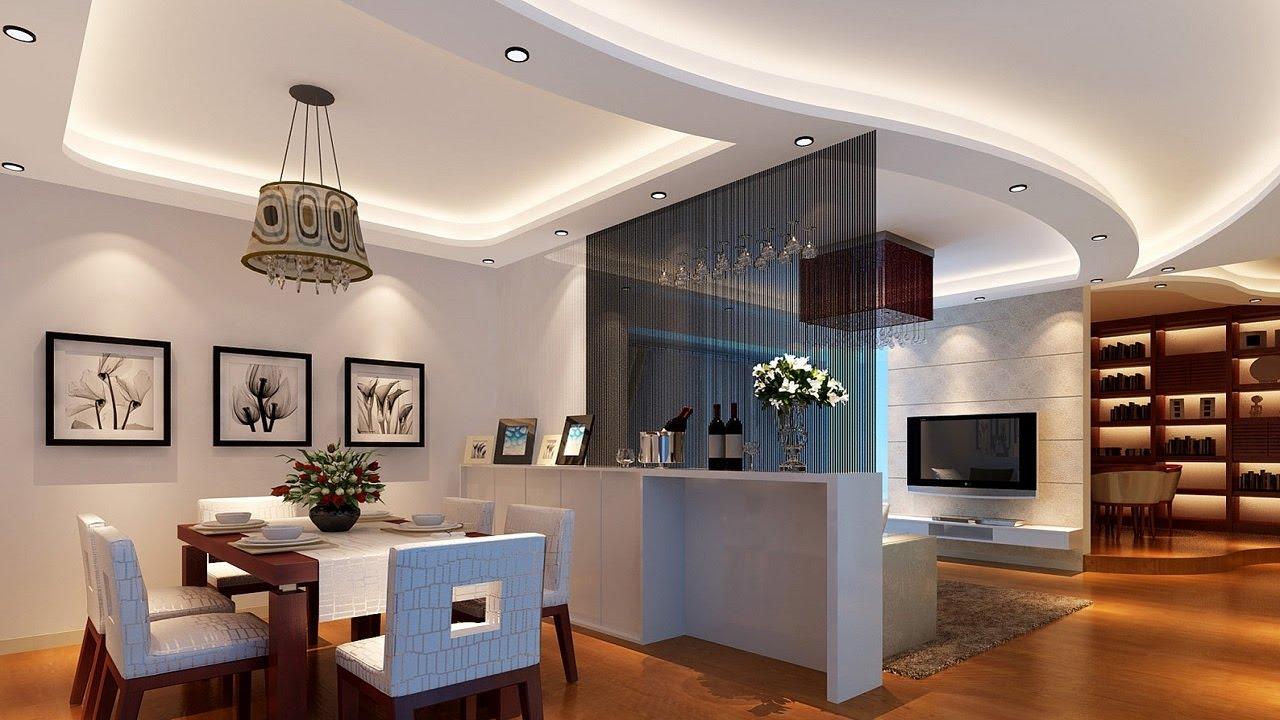 طراحی داخلی خانه شیک و مدرن که از کناف سقف و نور مخفی برای ایجاد ریتم در آن استفاده شده است