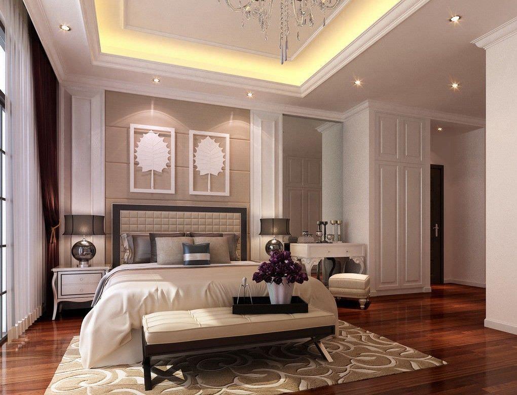 دکوراسیون اتاق خواب شیک و لوکس که از نور تاکیدی و مخفی در کناف سقف آن استفاده شده است
