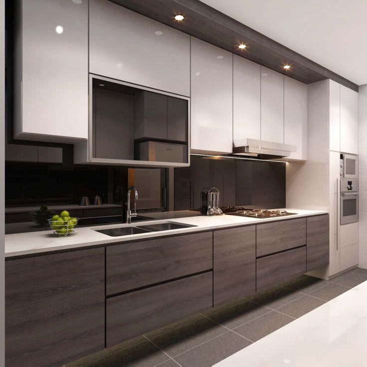 کابینت مدرن قهوه ای تیره و روشن در دکوراسیون آشپزخانه