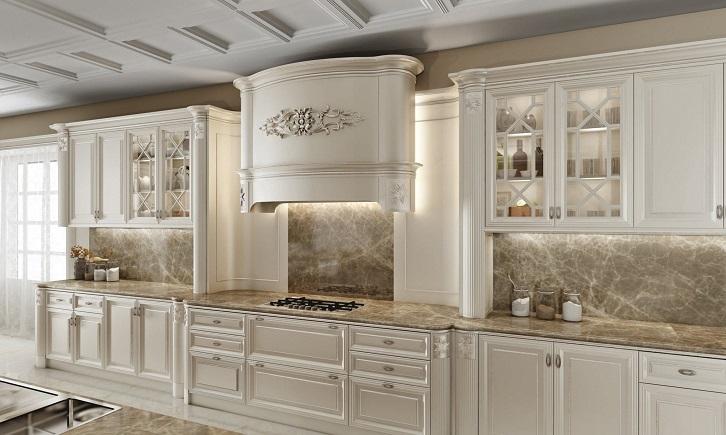 کابینت کلاسیک سفید به کار رفته در آشپزخانه بزرگ