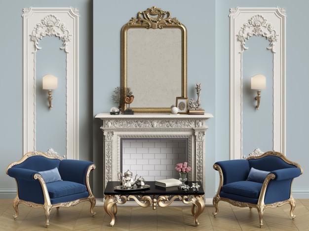 دیزاین دیوار پذیرایی کلاسیک با آینه منبت کاری شده بالا شومینه