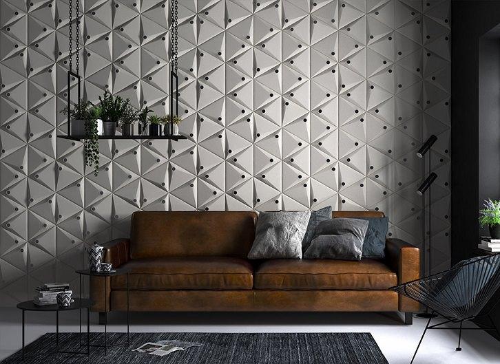 دیزاین دیوار پشت مبل نشیمن با پنل و دیوارپوش فومی سه بعدی