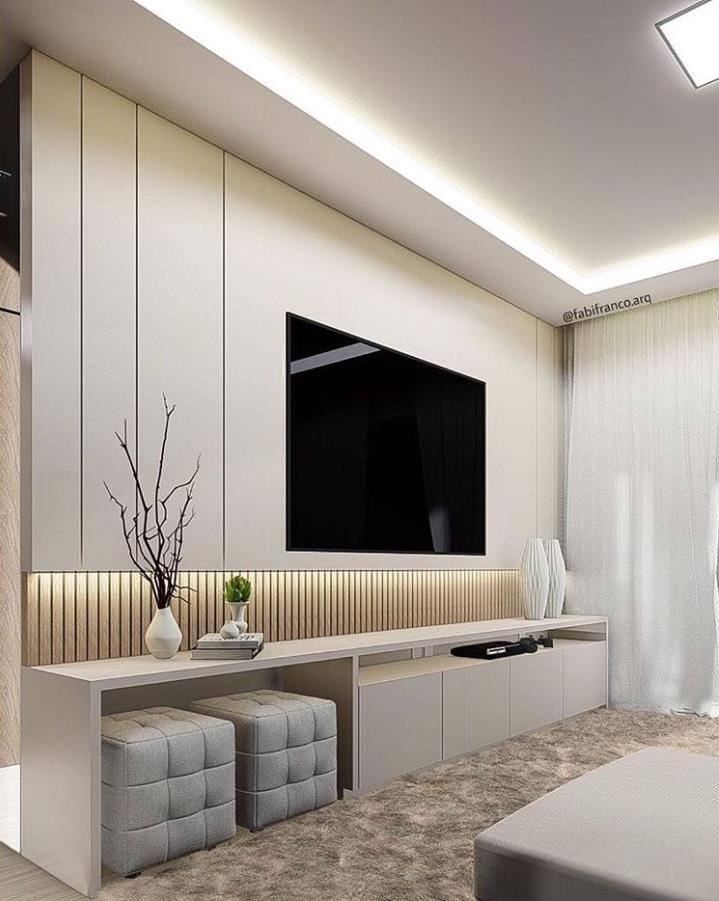 دیزاین دیوار پشت تلویزیون با کناف و نور مخفی