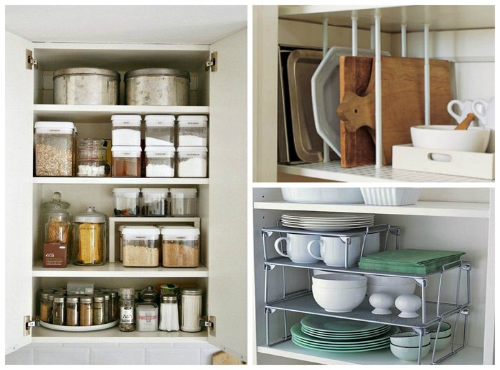 چیدمان مرتب ظروف داخل کابینت