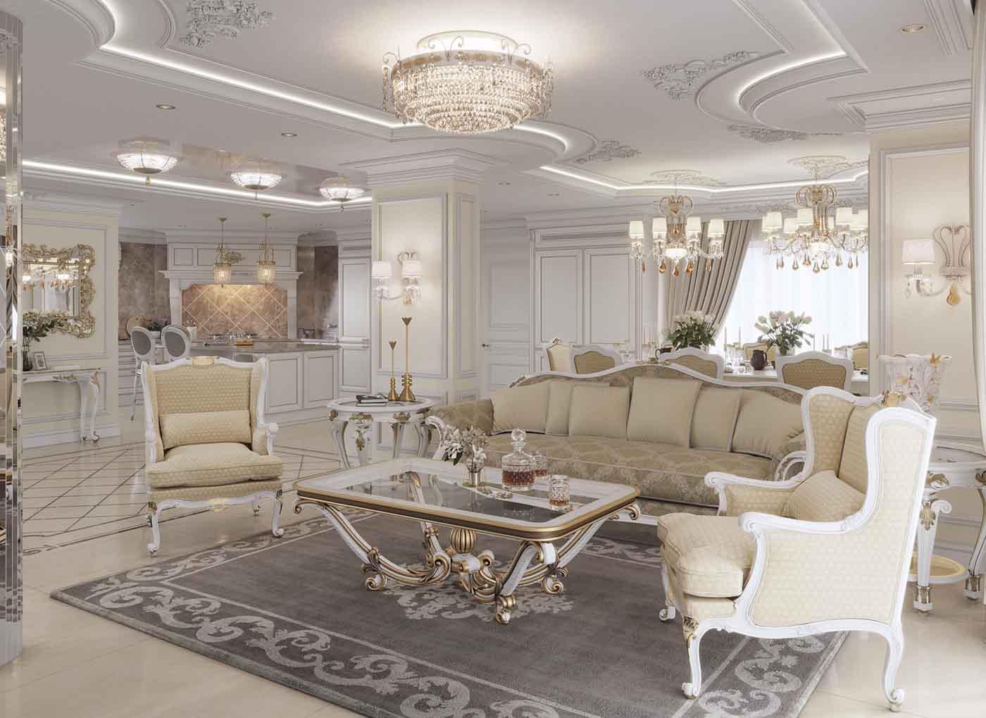سبک دکوراسیون کلاسیک با مبلمان استیل کرم سفید