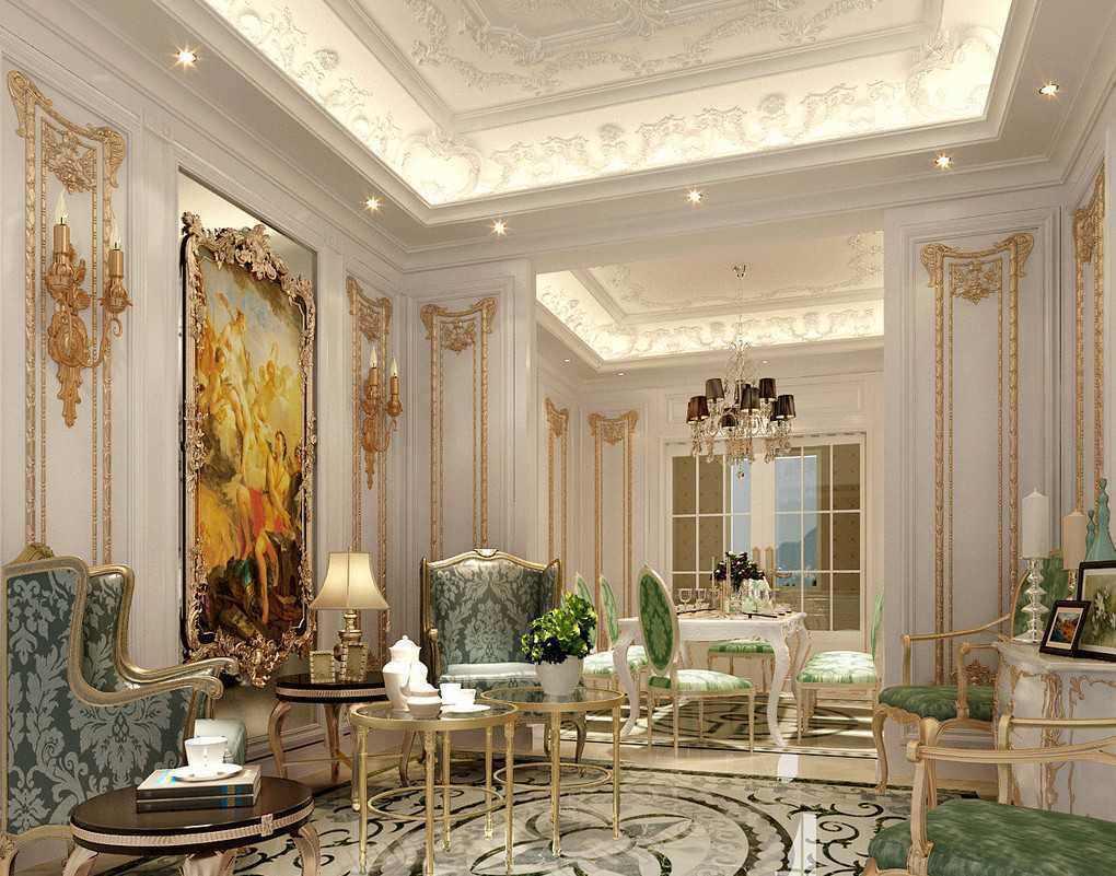 سبک دکوراسیون کلاسیک پذیرایی که به صورت اصولی نورپردازی شده است