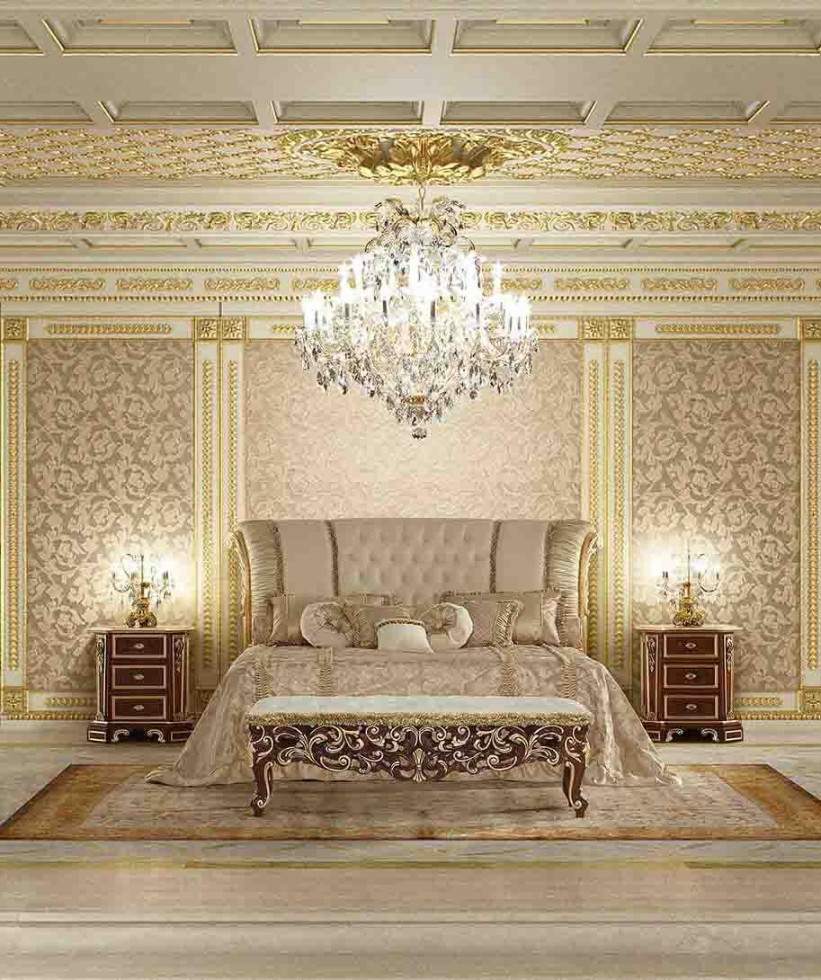 سبک دکوراسیون کلاسیک اتاق خواب که اثاثیه آن به صورت متقارن چیده شده اند