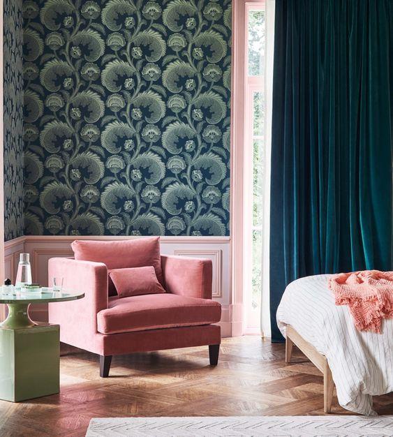 کاغذ دیواری اتاق خواب به رنگ سبز یشمی