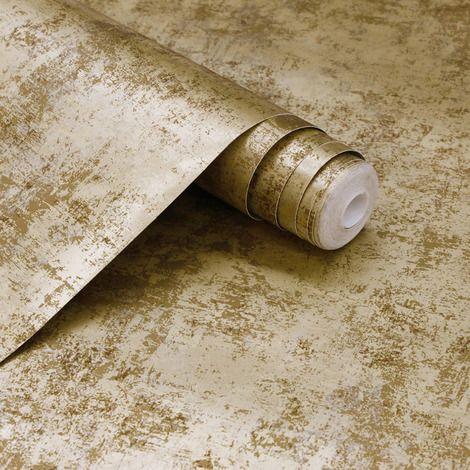 کاغذ دیواری قابل شست و شو طلایی رنگ با طرح پتینه