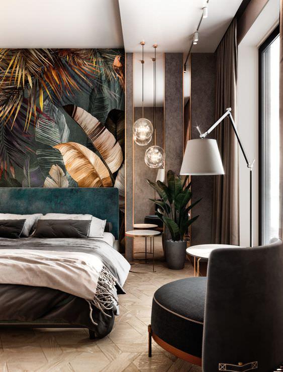 کاغذ دیواری با طرح درشت برای پشت تخت