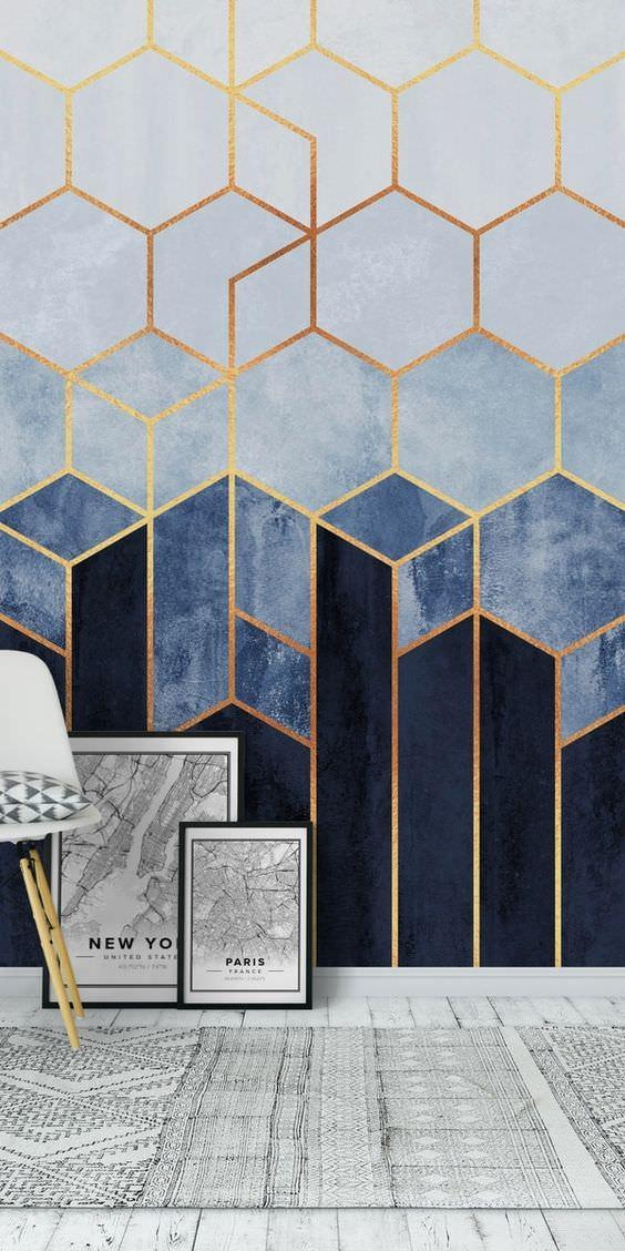 کاغذ دیواری با طرح هندسی و رنگ آبی