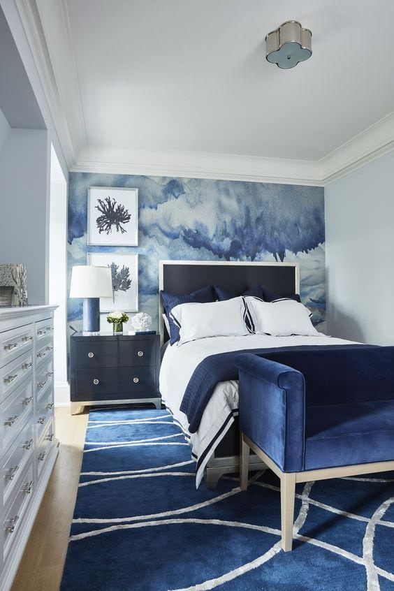 اتاق خواب با دکوراسیون آبی رنگ