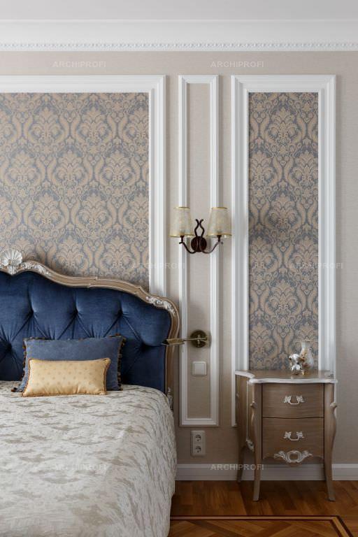 کاغذ دیواری طرح برجسته کلاسیک در اتاق خواب