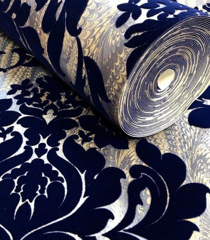 رول کاغذ دیواری سه بعدی با رنگ سرمه ای