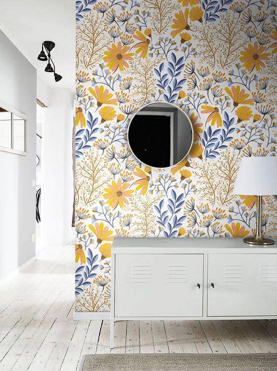 کاغذ دیواری از جنس نانو باطرح گل و گیاه