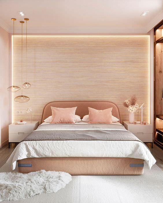 اتاق خواب با رنگ کاغذ دیواری رزگلد