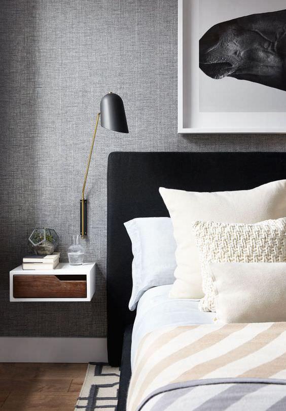 اتاق خواب با رنگ کاغذ دیواری طوسی