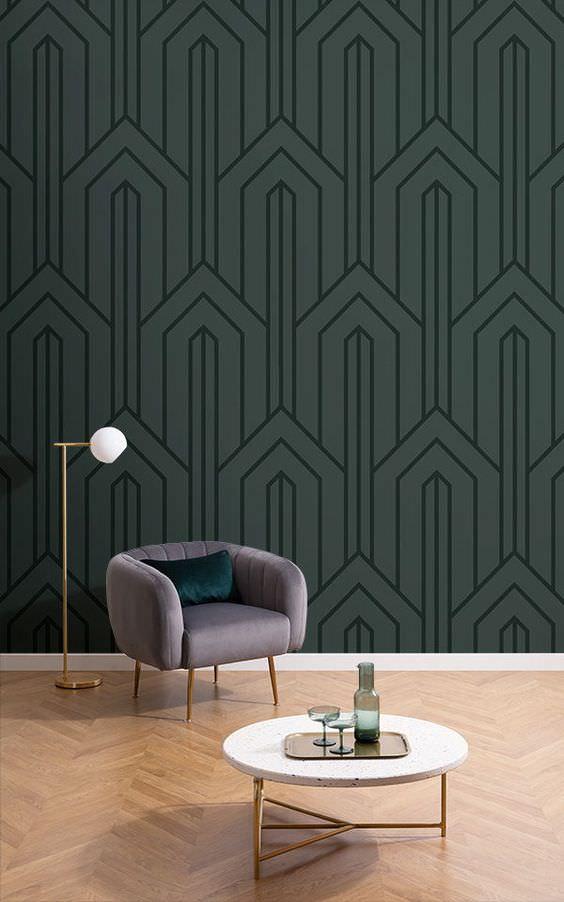 کاغذ دیواری مدرن طوسی رنگ