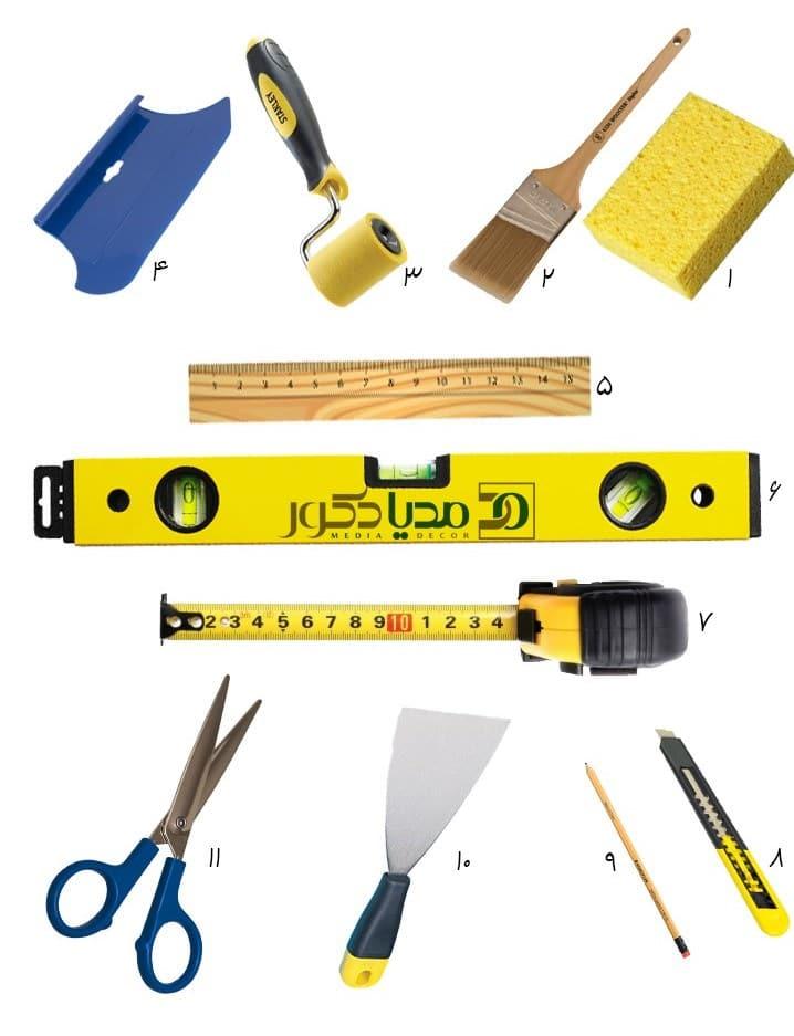 ابزار مورد نیاز برای نصب کاغذ دیواری