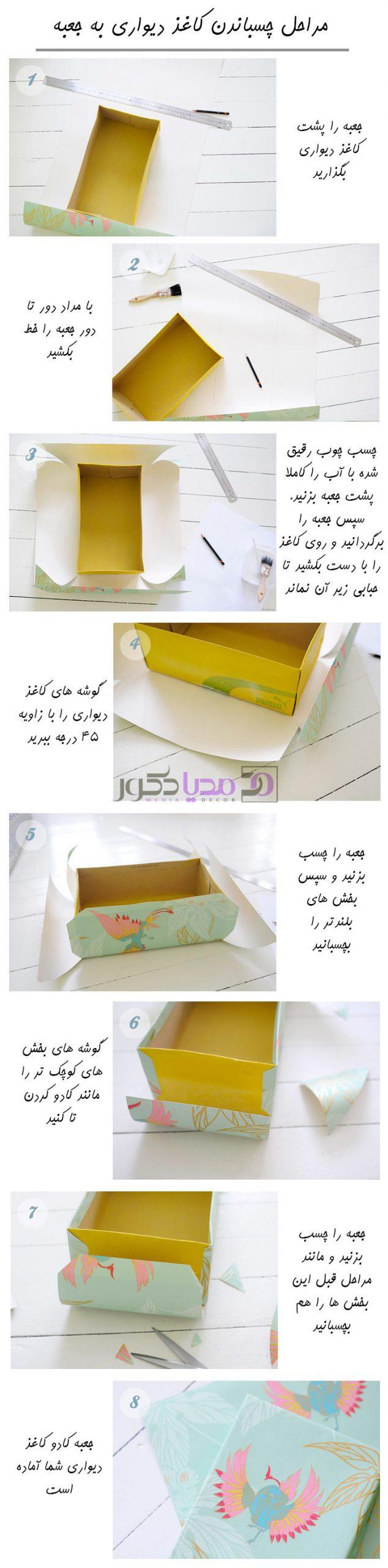 مراحل کاغذ دیواری کردن جعبه کادو