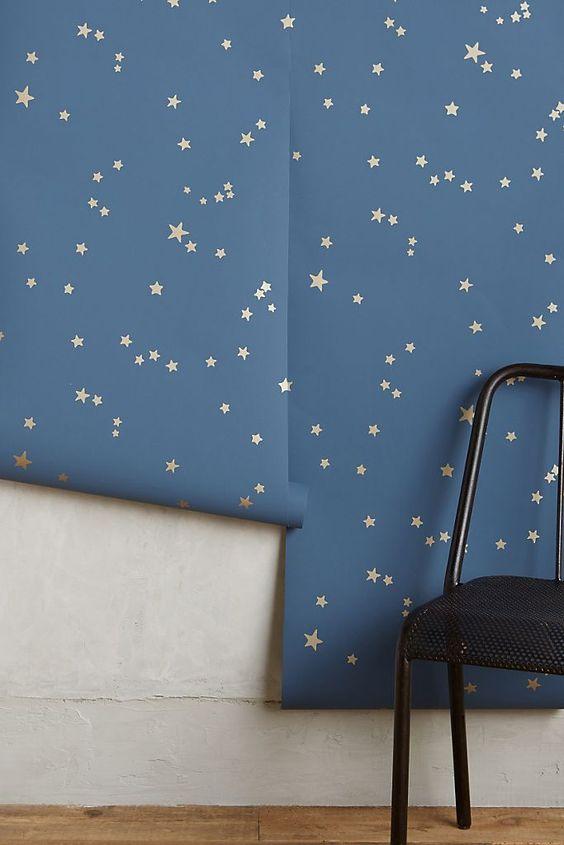 کاغذ دیواری اتاق کودک با طرح ستاره و رنگ آبی