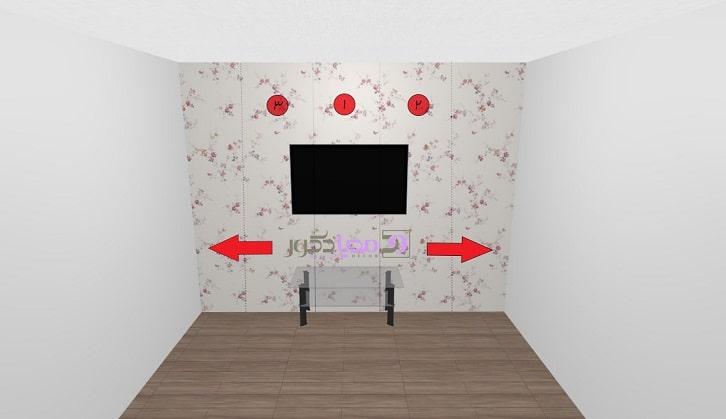 نقطه شروع نصب کاغذ دیواری از پشت نقطه کانونی فضا