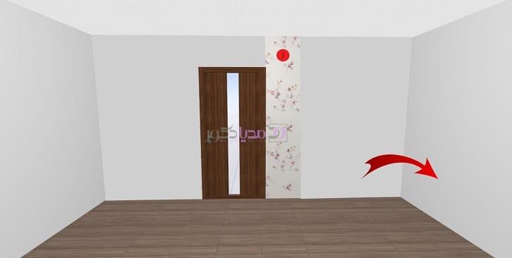 نقطه شروع نصب کاغذ دیواری از کنار ورودی فضا