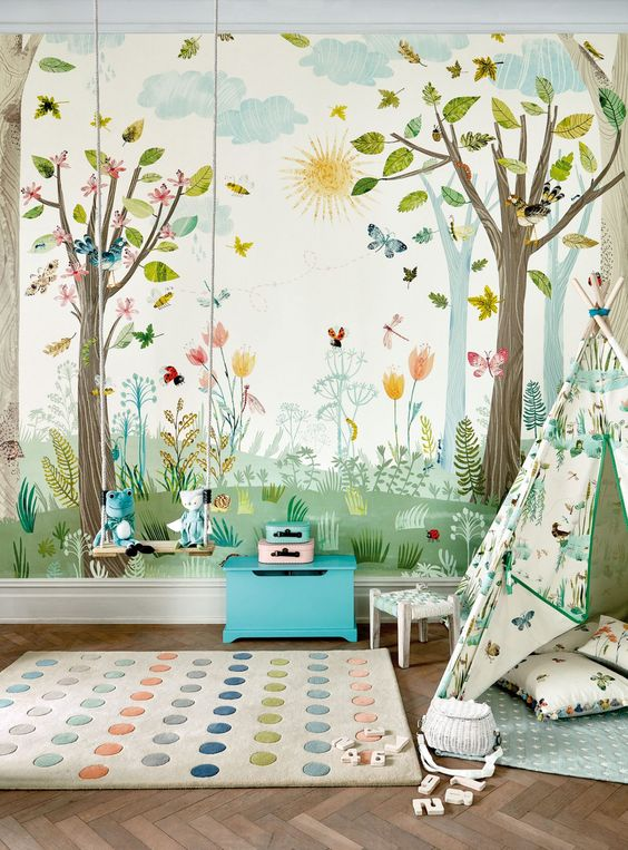 پوستر اتاق کودک با طرح درخت و گل
