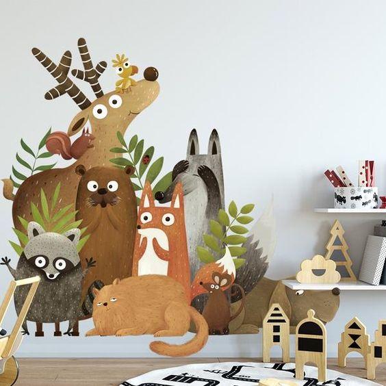 کاغذ دیواری اتاق کودک با طرح حیوانات