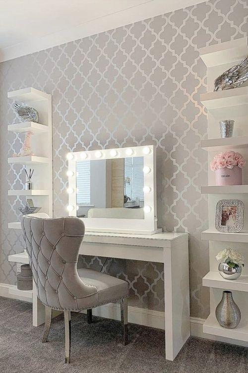 کاغذ دیواری اتاق نوجوان دختر با طرح کلاسیک و رنگ طوسی