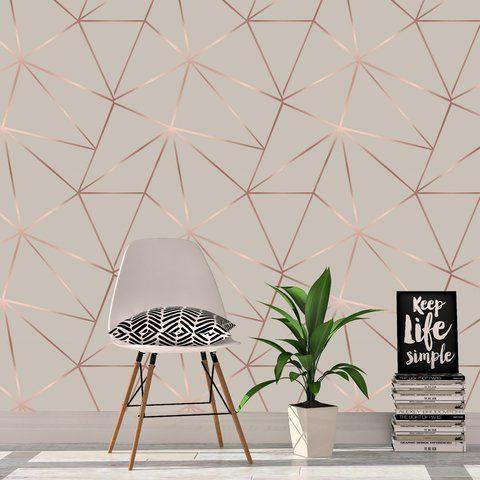کاغذ دیواری اتاق نوجوان دختر با طرح هندسی و رنگ صورتی و مسی