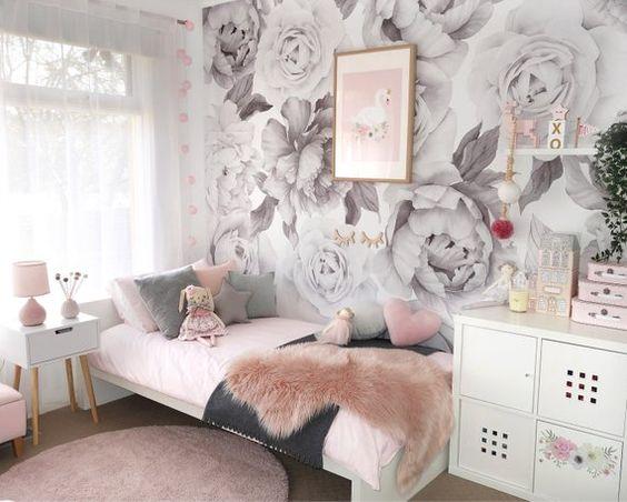 کاغذ دیواری اتاق نوجوان دختر با طرح گل