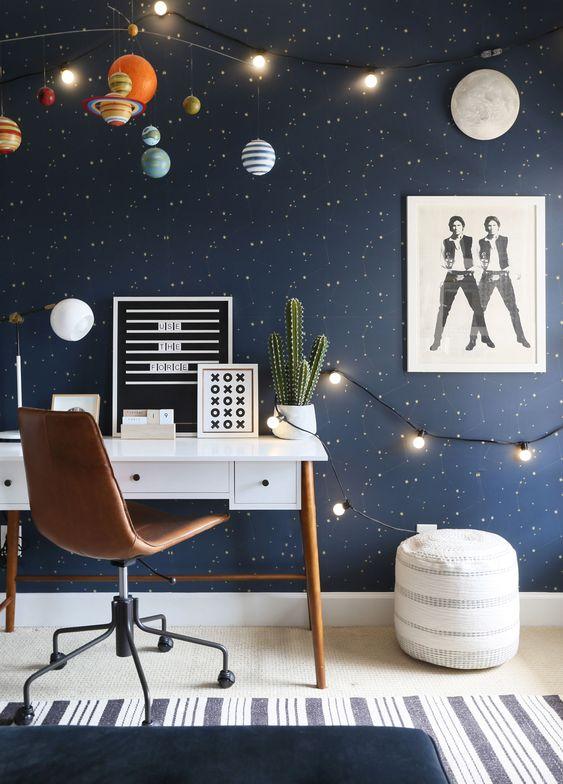 کاغذ دیواری اتاق نوجوان پسر با طرح کهکشانی و رنگ سرمه ای