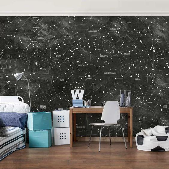 کاغذ دیواری اتاق نوجوان پسر با رنگ مشکی و طرح کهکشانی
