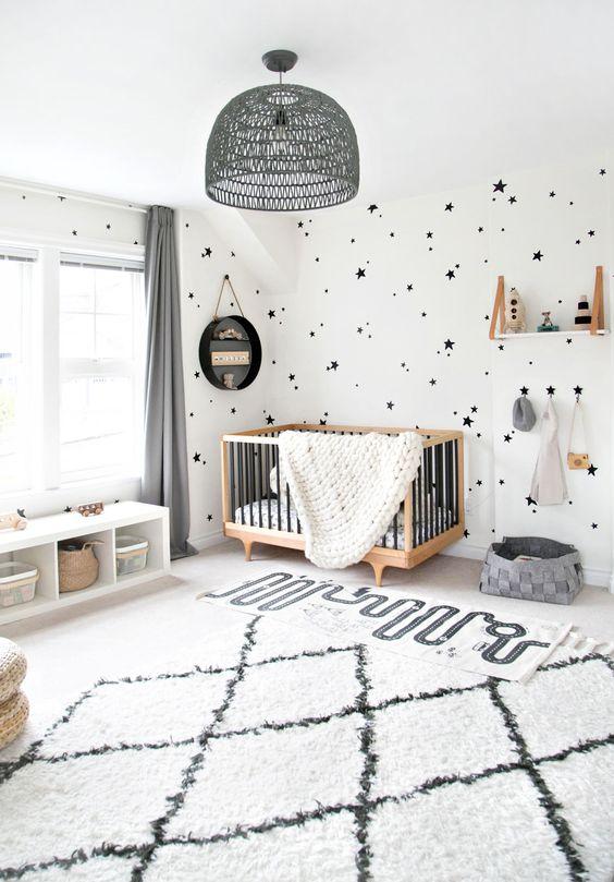 کاغذ دیواری اتاق نوزاد با طرح ستاره و رنگ سفید و مشکی