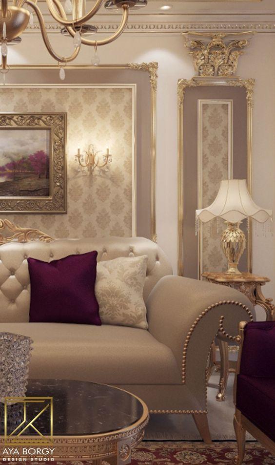 کاغذ دیواری پذیرایی با طرح کلاسیک و رنگ کرم
