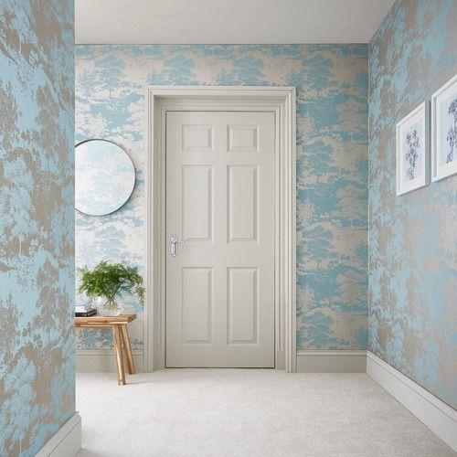 کاغذ دیواری راهرو با رنگ آبی