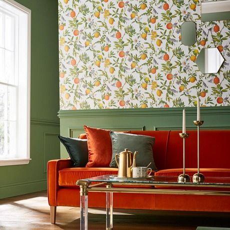 کاغذ دیواری پذیرایی با رنگ سفید و طرح میوه