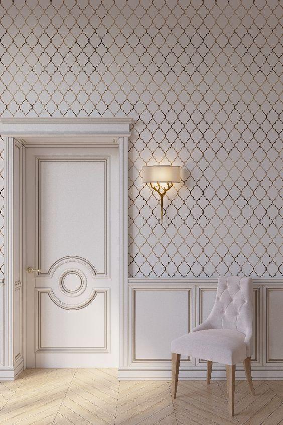 کاغذ دیواری پذیرایی به رنگ صورتی پاستلی و طرح لوزی
