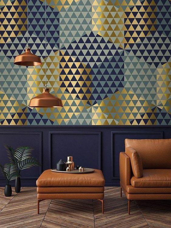 کاغذ دیواری پذیرایی مدرن با طرح هندسی و رنگ سرمه ای
