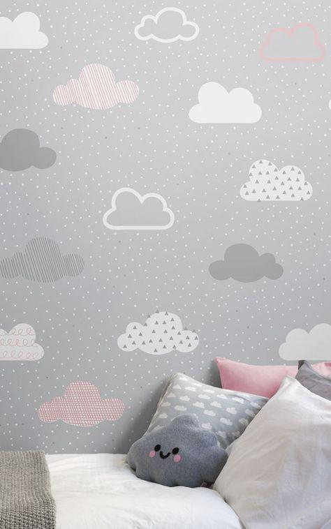 کاغذ دیواری اتاق کودک دختر با رنگ طوسی و طرح ابر