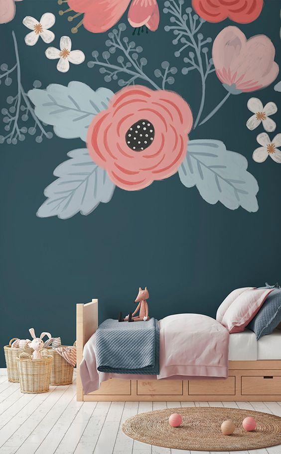 کاغذ دیواری اتاق کودک دختر با رنگ سرمه ای و گل صورتی