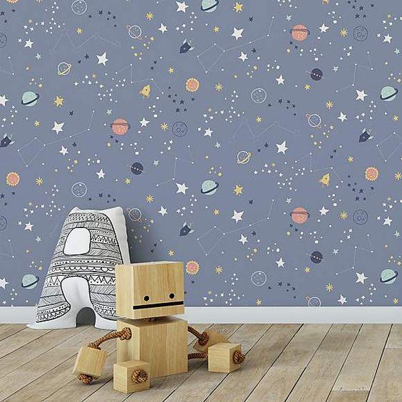 کاغذ دیواری اتاق کودک پسر با طرح کهکشانی و رنگ آبی