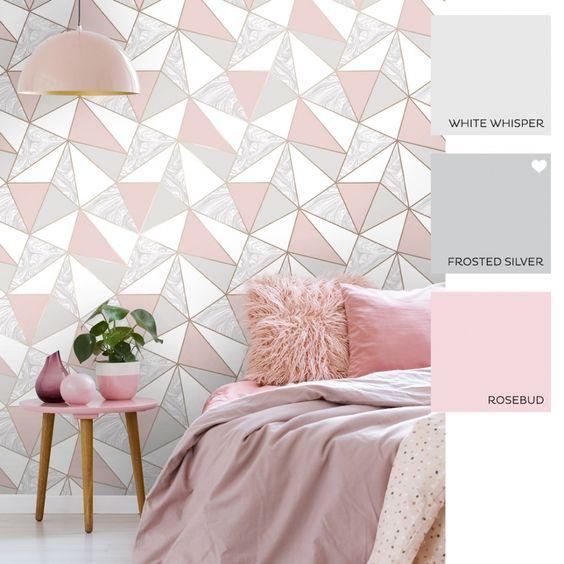 کاغذدیواری اتاق نوجوان با طرح هندسی و رنگ صورتی و طوسی