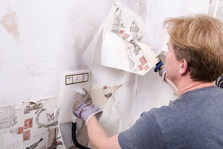 استفاده از بخار شوی برای کندن کاغذ دیواری