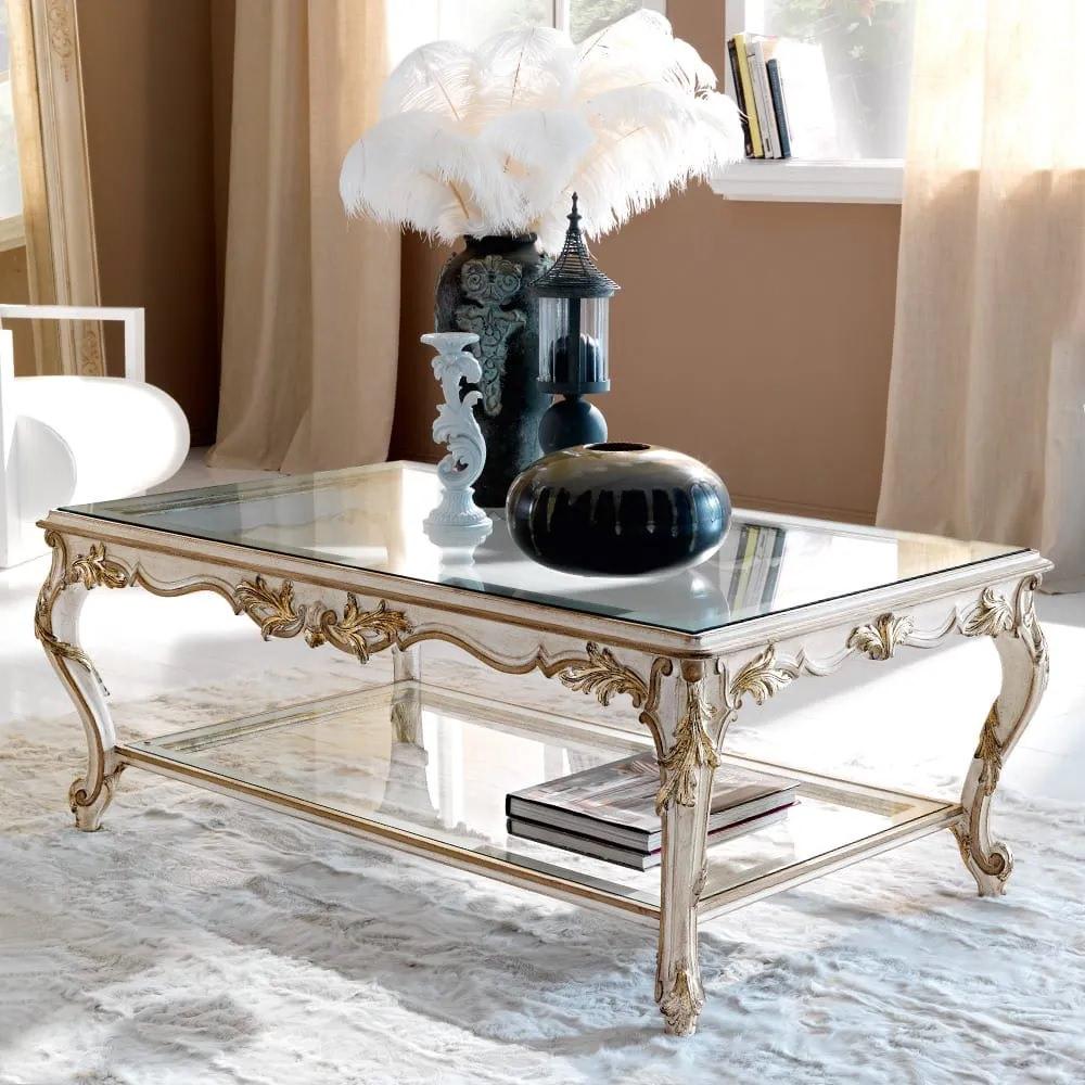 جلو مبلی کلاسیک چوبی و شیشه ای مستطیلی روشن