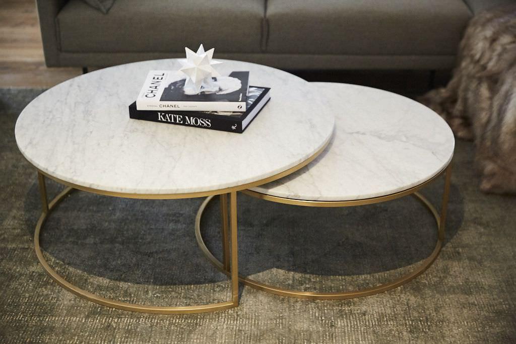 میز جلو مبلی 2 تکه دایره ای سنگی و پایه فلزی