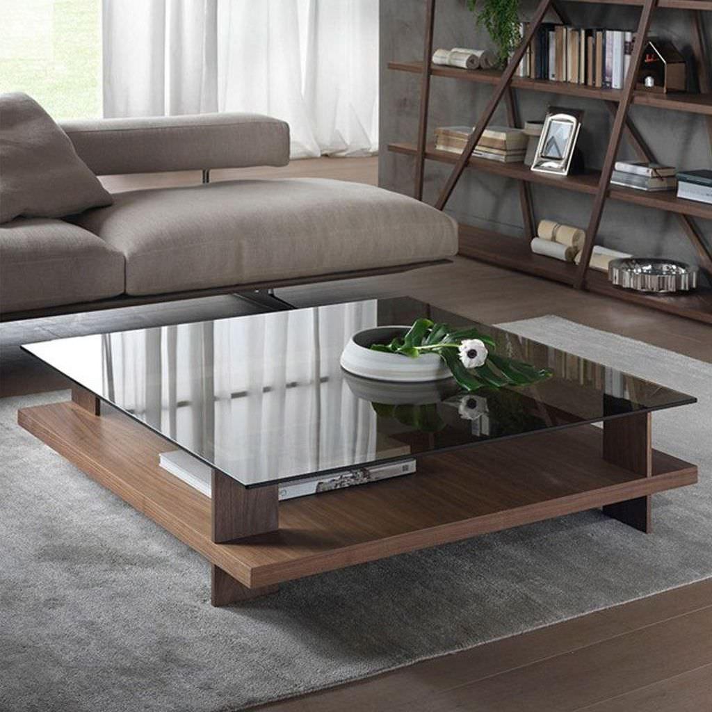 میز جلو مبلی مدرن چوبی و شیشه ای مربع