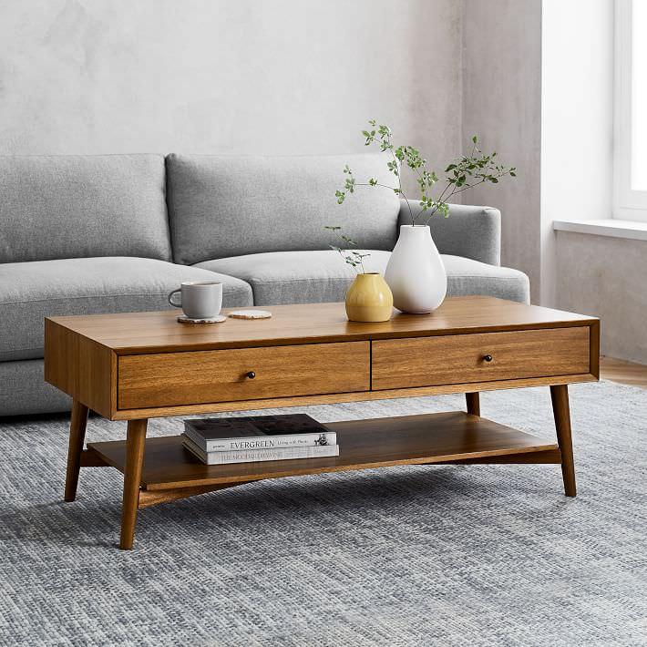 میز جلو مبلی مدرن چوبی مستطیل شکل
